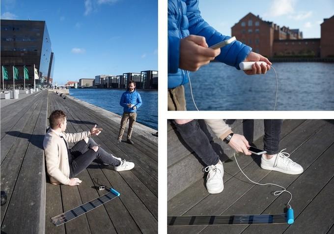 HeLi-on es una enorme batería solar para tu móvil que se oculta en un pequeño rollo