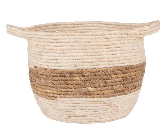 Cesta de fibra de maíz con banda marrón ardilla