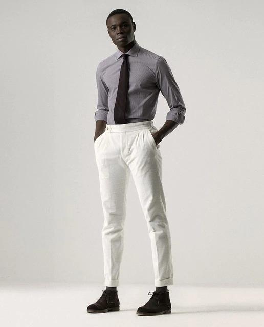 Pantalones de vestir de hombre slim liso en blanco