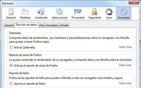Reporte de salud de Firefox