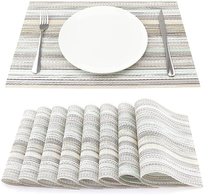 SueH Design Manteles Individuales Juego de 8, Salvamanteles Individuales en PVC para Comedor 45 * 30 CM, Teal