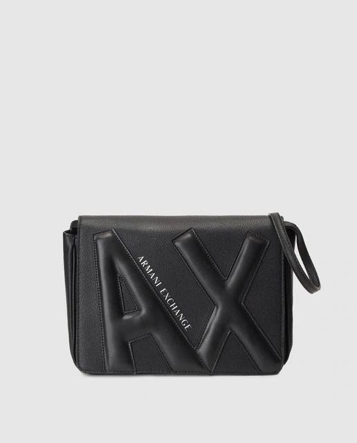Bolso de hombro Armani Exchange en negro con grabado en relieve