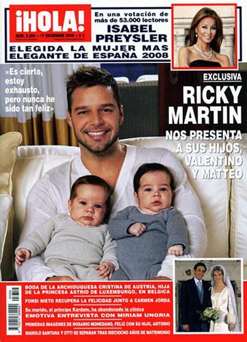 Ricky Martin presenta a sus gemelos en la revista Hola