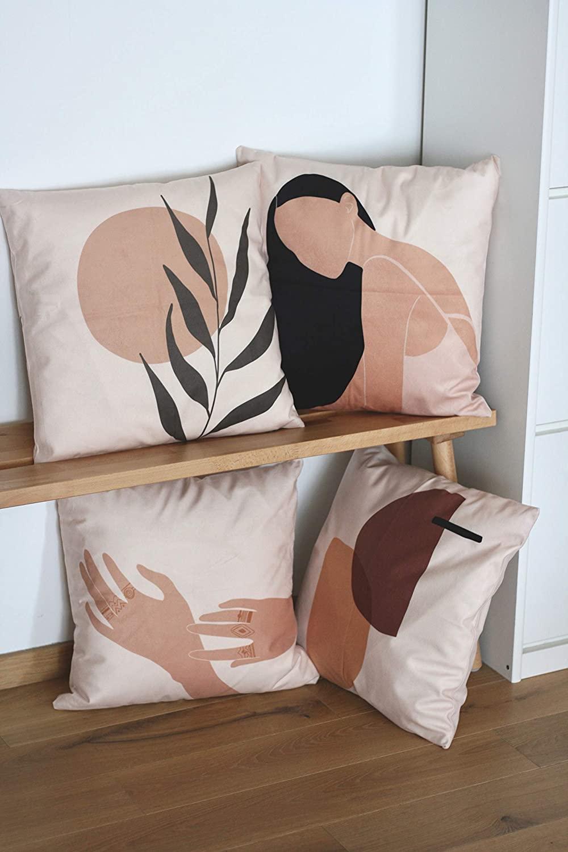 anaan Tropic Fundas de Cojines Terciopelo Doble Cara Impresa 45x45 cm Almohadas Fundas Cuadradas para Sala de Estar sofás Decorativa Diseño Juego de 4