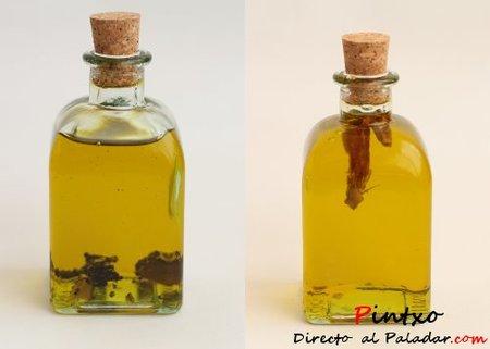 Aceite de guindilla y aceite de trufa