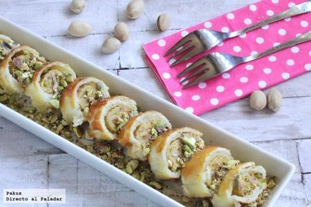 Falso sushi de plátano y pistachos. Receta de postre
