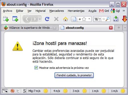 Paso 1: about:config, zona hostil para manazas