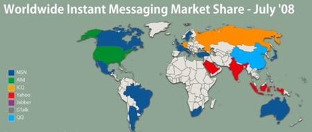 Mensajería instantánea según el país