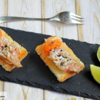 Pincho de salmonetes con escamas comestibles. Receta de aperitivo