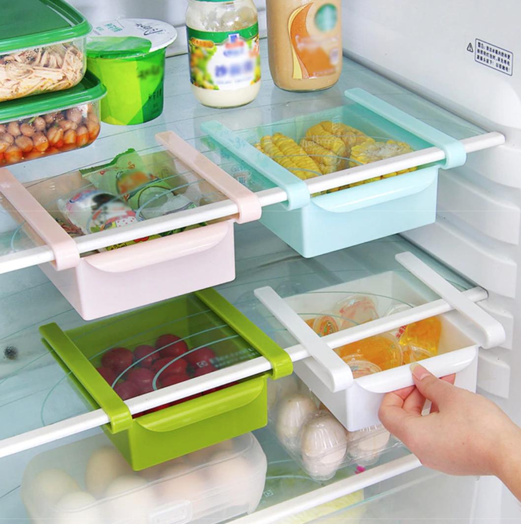 Refrigerador cajas cajones de almacenamiento estantes divisores deslizantes hogar comida fresca cocina organización estante de refrigerador titular organizador