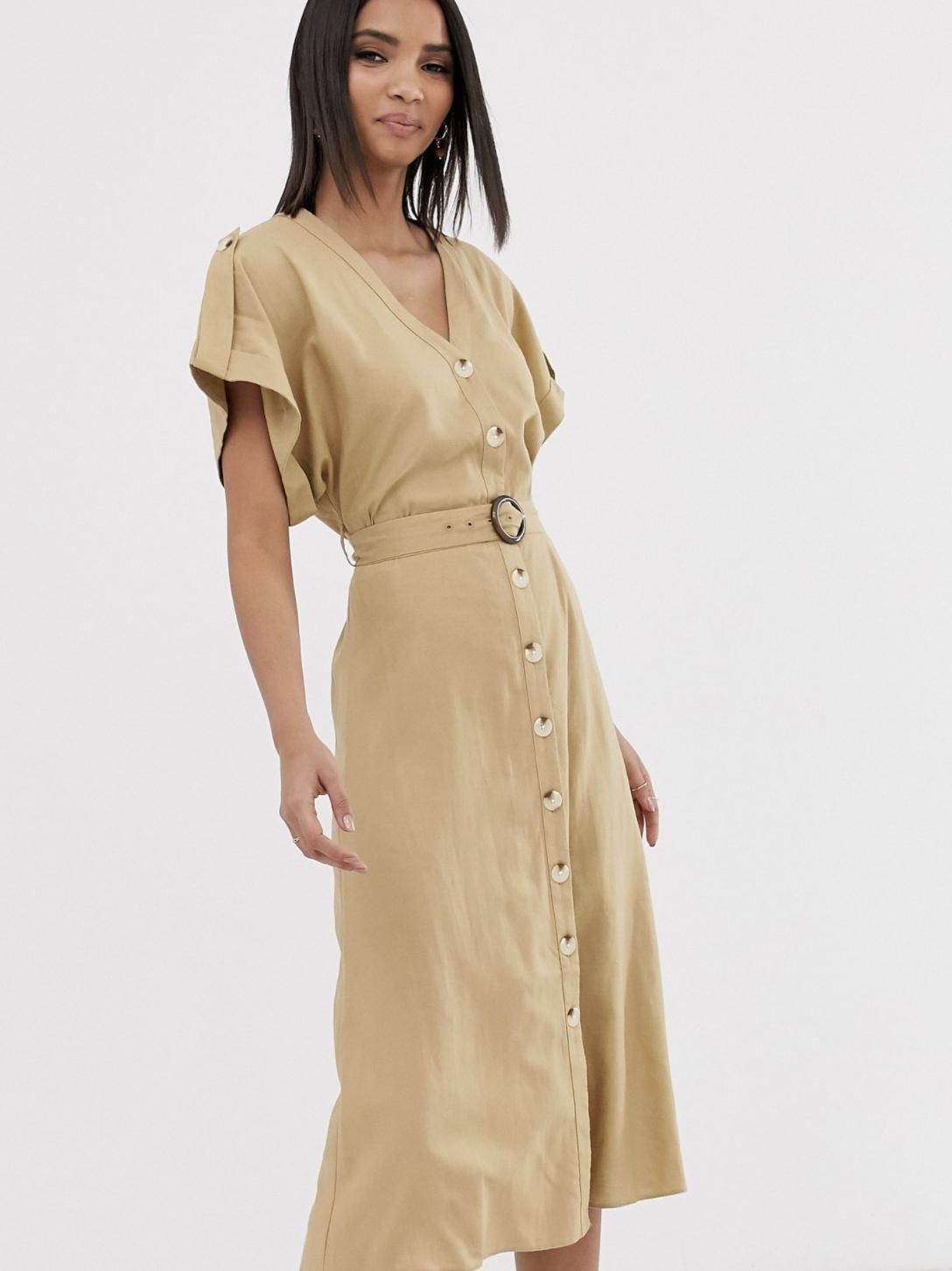 Vestido midi camisero color piedra de lino de estilo utilitario con cinturón de resina de Warehouse