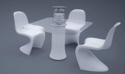 Una mesa con lavaplatos incorporado