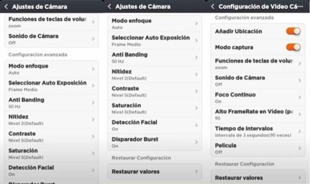 Opciones de configuración de cámara de fotos y grabación de vídeo
