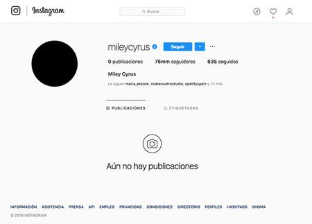 Miley Cyrus Instagram Vacio