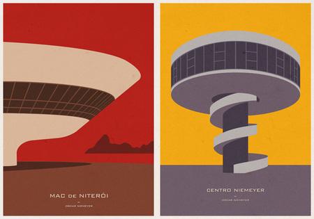 Ilustraciones icónicas de arquitectura, por André Chiote
