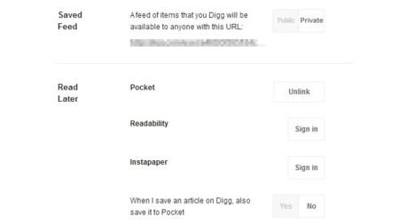 La configuración de Digg Reader