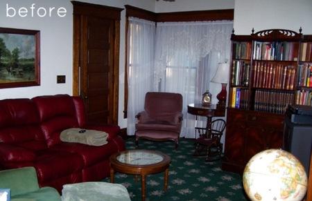 Antes y después: en el salón, menos moqueta y más luz