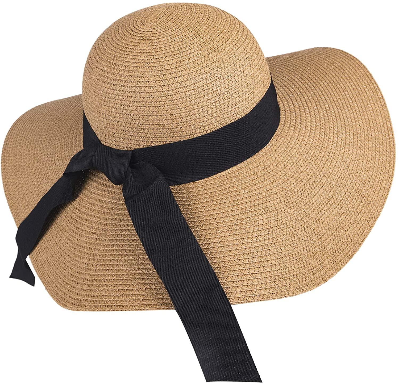 FURTALK Sombrero de Paja ala Ancha Ajustable, Sombrero Plegable de Playa Verano para Mujeres y Chicas, UV UPF50+ Protección Solar