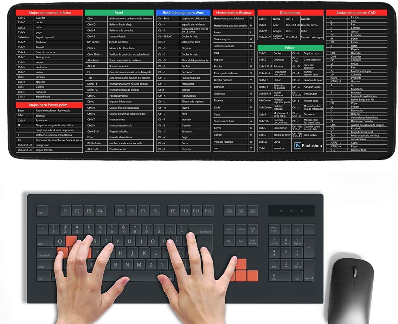Mousepad con comandos de teclado para diferentes programas de 30x80 cm