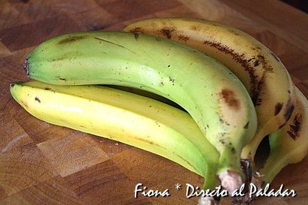 Los plátanos antes del experimento