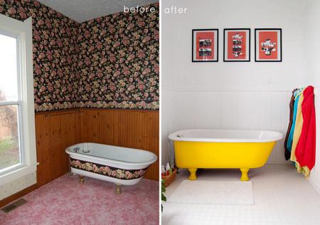 Baño florido - antes y después