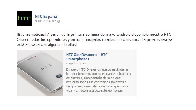 HTC One disponible en mayo