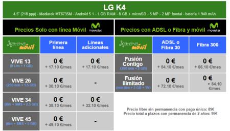 Precios Lg K4 Con Tarifas Movistar
