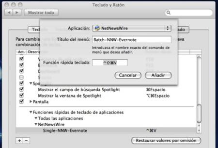 Atajo de teclado personalizado