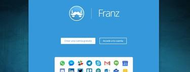 Así es Franz: WhatsApp, Messenger, Slack, Telegram, Gmail o Twitter en una sola aplicación