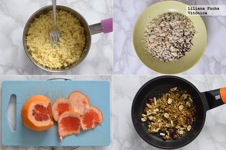 Ensalada de arroz y cuscús con pomelo y frutos secos. Receta saludable. Pasos