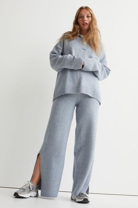 Pantalon De Punto Con Abertura