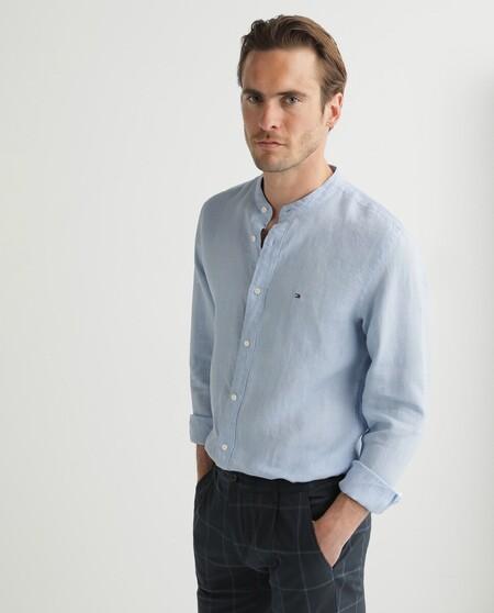 Camisa De Hombre Regular En Lino De Manga Larga Azul Celeste
