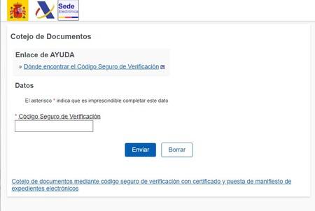 Página del trámite de cotejo del código seguro de verificación de un documento de la Agencia Tributaria.