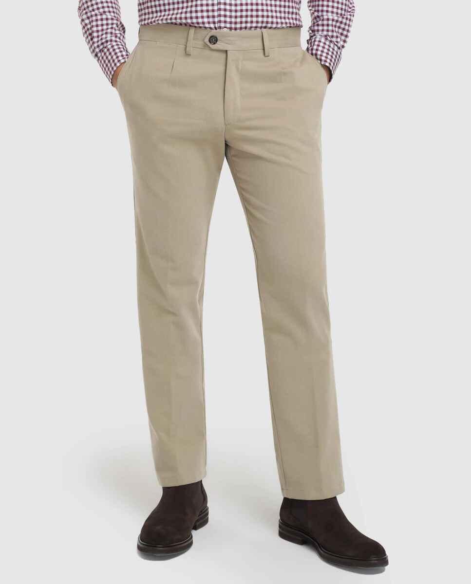 Pantalón de hombre regular beige de sarga