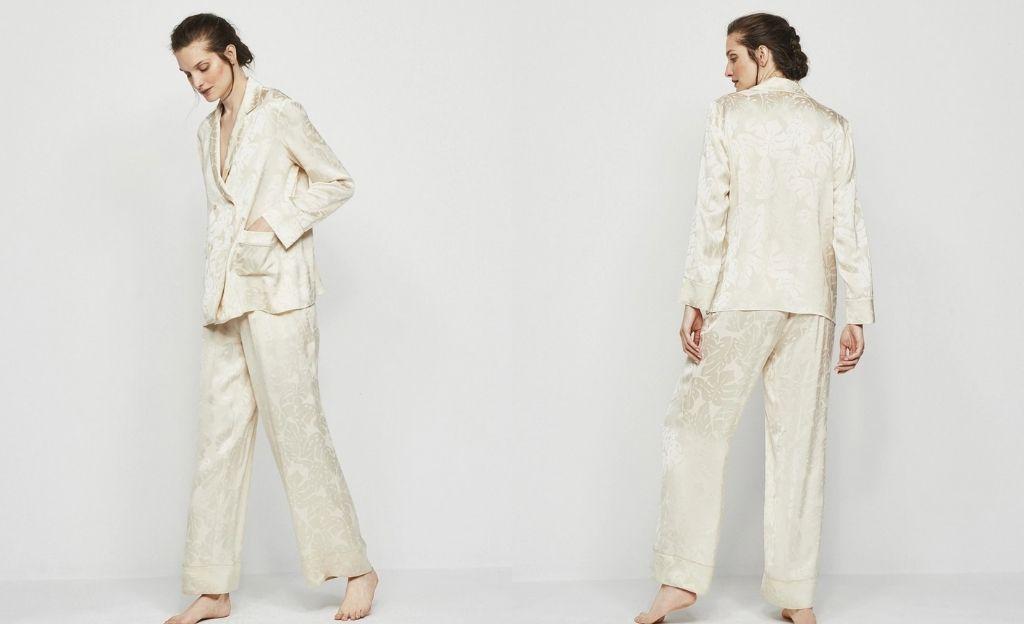 Pijama de mujer largo fluído con jacquard floral y antifaz