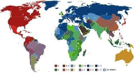 Un mapamundi de los enchufes que se usan en cada país