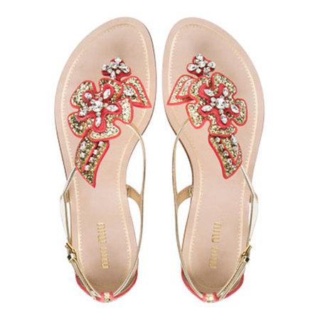Miu Miu flip-flop flower glitter