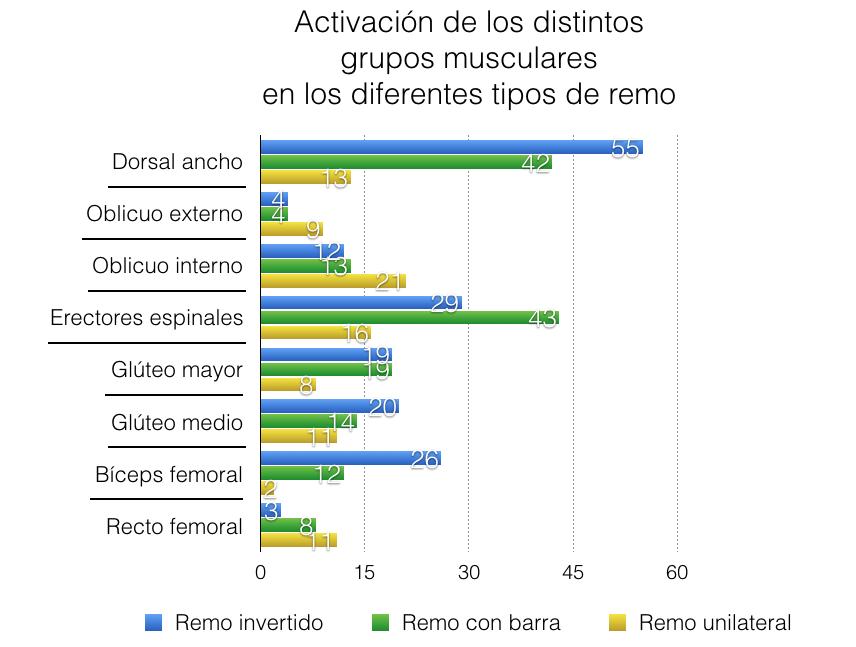 Activación en los distintos tipos de remo