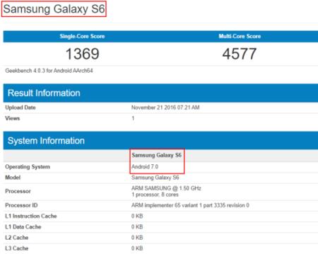 Samsung Galaxy S6 con Nougat GFXBench