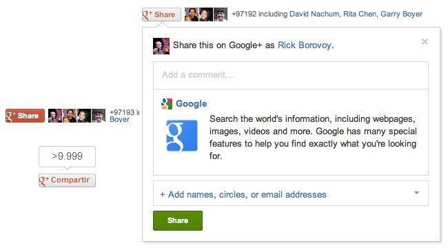 Google Plus botón compartir