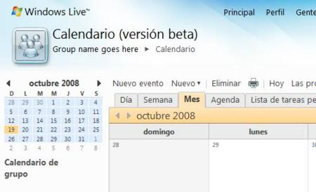Calendario grupal de Windows Live Wave 3