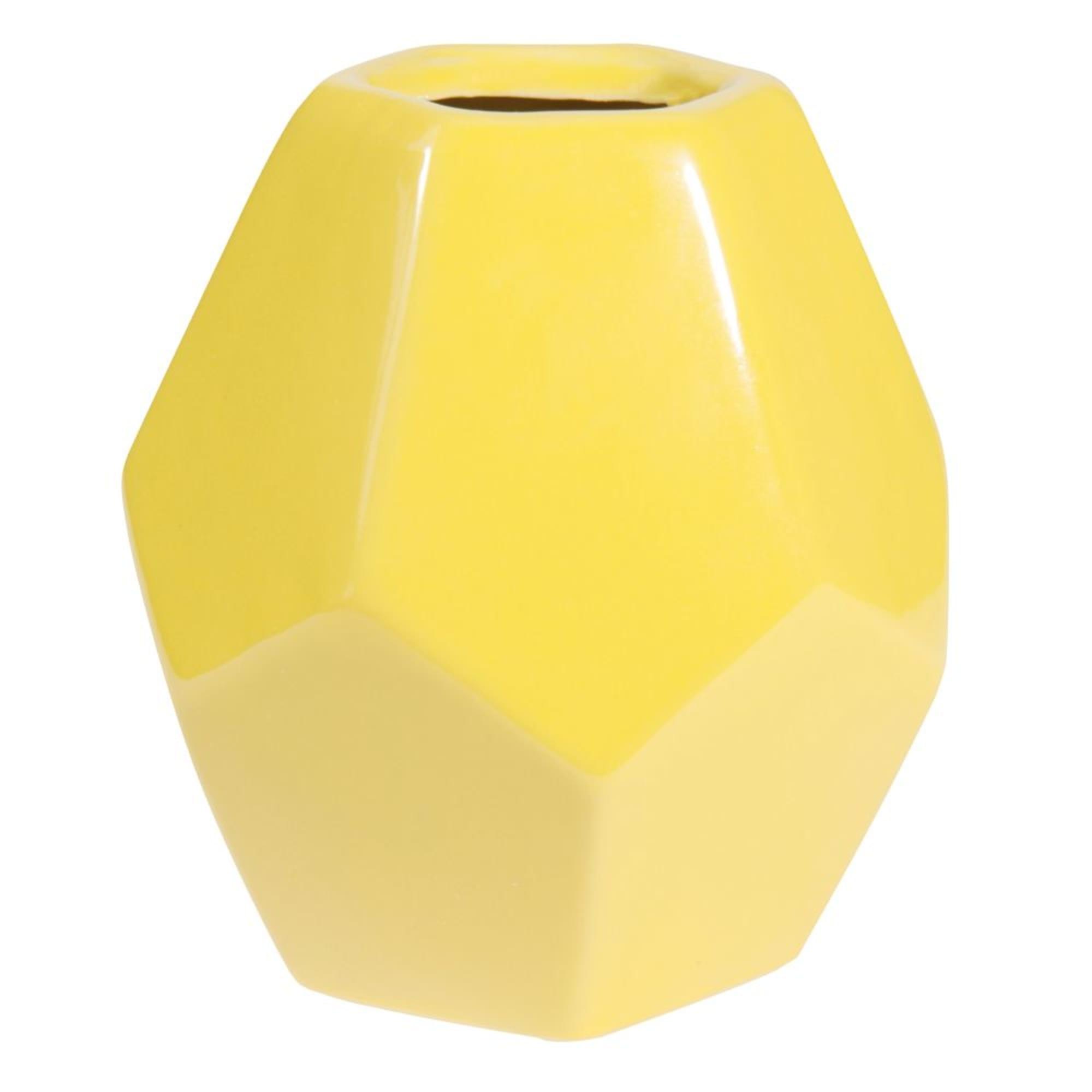 Jarrón de cerámica amarillo