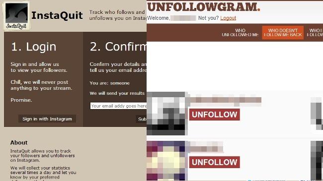 Dos servicios para saber quien nos deja de seguir en Instagram: Unfollowgram e InstaQuit
