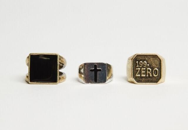 Set de anillos de cruz y sello
