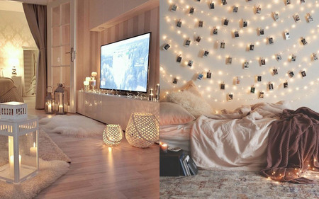 17 ideas para decorar la casa con guirnaldas de luces sin - Ideas para decorar con fotos ...