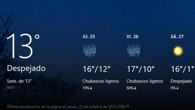 Windows 8 previsión del tiempo