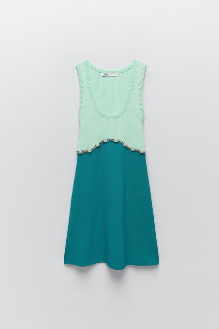 Zara Vestido Joya Verde 03