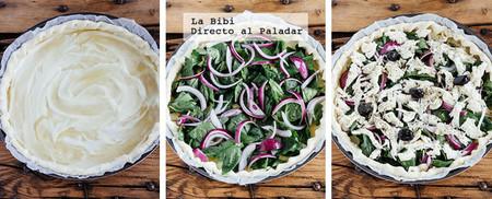 Pizza Espinacas Mozzarella Prep