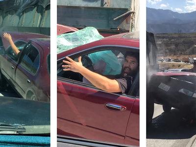 ¡De locos! Atrapa un coche con el tráiler y lo arrastra durante kilómetros sin darse cuenta