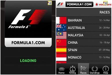 Fórmula 1 2010 App para dispositivos móviles. La probamos durante el pasado GP de Bahréin